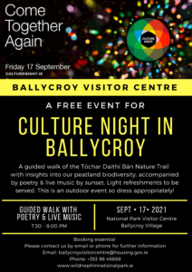 Ballycroy Culture Night- September 17, 2021 Events Poster